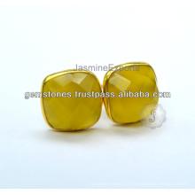 Fornecedor de atacado de semi precioso calcedônia Gemstone Bezel Setting Stud Earring