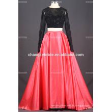 Deux pièces en dentelle Backless Appliqued Floor Length robe de bal 2017