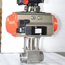 Válvula de bola de aire comprimido de alta presión de acero inoxidable de 2 vías