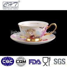 Nueva taza de la sopa de la porcelana del diseño con el platillo