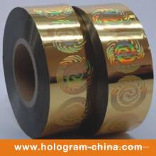Estampagem a quente de holograma de segurança dourada