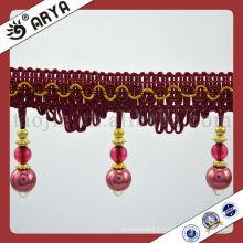 Coussins bon marché de stock décorés avec une frange décorative en perles turc