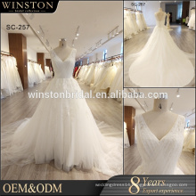 Real sample picture sleeveless style beaded lace wedding dress plus size