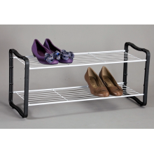 2 Tier Shoe Rack black and white