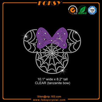 Cartoon Mouse spiderweb rhinestone transfer for t-shirt