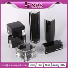 Luxo cosméticos Pacote Set 15ml 50ml E Plastic Manufacturerer Elegante Preto Square Shape Creme Cuidados com a pele 30ml Serum Bottle