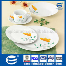 yellow flower design 20pcs new fashion round dinner set in high quality