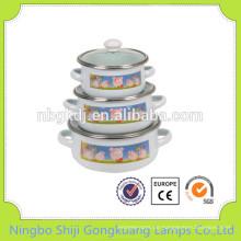 3 Stück Emailleware Casserole Mini Keramik Auflauf