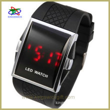 Chic Unisex Silicone Watch,Band LED Watch with Red LED Light Appearing (Black&Red)
