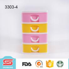 Durable colorido plástico de 4 capas mini organización del cajón de almacenamiento en el hogar para la venta