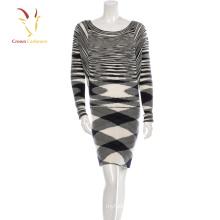 Damen Streifen Kaschmirpullover Kleid Enges langes Strickkleid