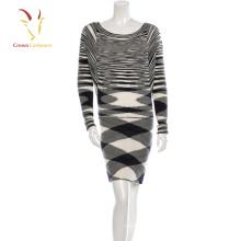 Ladies Stripe Cashmere Sweater Dress Tight Long Knit Dress