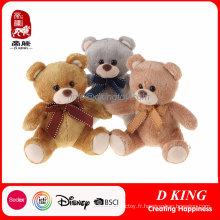 Ours en peluche de jouets en peluche douce avec ruban