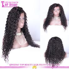 Gros mongol vierge cheveux humains dentelle perruque avant vague profonde sans colle perruques