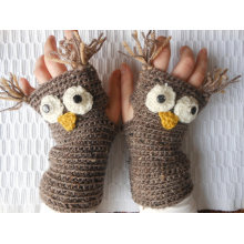 Crochet Fingerless Mittens Gloves Beige Owl