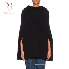 Women Fashion Hooded Wool knitted Poncho
