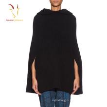 Женская мода с капюшоном шерсть вязаный пончо