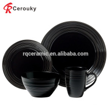 Custom high quality 18pcs black ceramic dinner set
