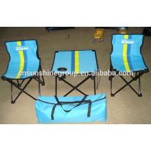 Folding table et chaise, populaire 3 pièces camping ensembles pour la randonnée.