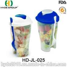 Taza plástica de la coctelera del envase de ensalada de alta calidad con la bifurcación (HDP-2018)