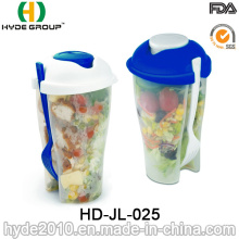 High Quality Salad Container Plastic Shaker Cup with Fork (HDP-2018)