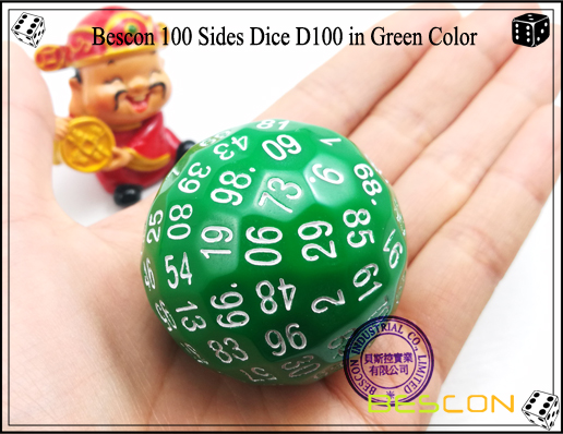 Bescon 100 Sides Dice D100 in Green Color-2