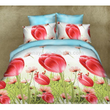 100% Polyester Microfiber Brushed 3D Tulips Flower Design Bed Cover Bedding Sets