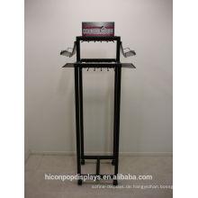 Freistehende 4-Caster Movable Metal Haken Rack Hanging Ledergürtel Stand Display für Retail Store