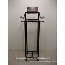 Freestanding 4-Caster Movable Metal Hooks Rack colgando de cuero Belt Stand Display para tienda minorista