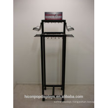 Freestanding 4-Caster Movable Metal Hooks Rack Hanging Leather Belt Stand Display For Retail Store