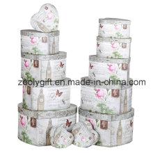 12 Juego de caja de almacenamiento de regalo de papel de corazón de forma de flor Caja Jewellry