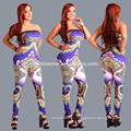 Custom hot sale ladies Slim FIt Sexy pullover printed One Piece Jumpsuit with Sweetheart Neck