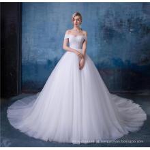 Elegante fora do ombro império um vestido de noiva linha com xaile HA587
