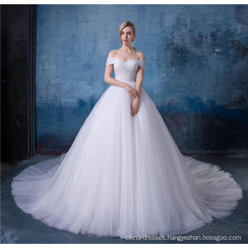 Elegant off shoulder empire a line wedding dress with shawl HA587