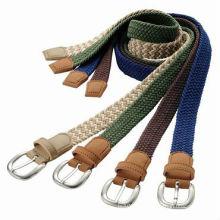Cinto de algodão tecido multicolor sólido best-seller para homens do mundo