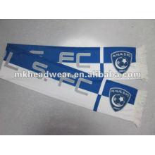 Синий и белый печати футбольный шарф / веер шарф