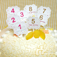 Dessert paper cake topper/creative number design shaped happy birthday decorative party cake topper