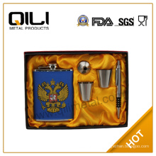 FDA 8oz Stainless Steel russian hip flask set