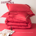 High Quality Hotel Bedding Linen Supplier 100% 60s Cotton Plain White Bed Sheets Set frame embroidery