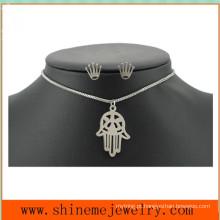 Moda Titanium Steel Palm Jewelry Set aço inoxidável Crown Unha simples mão colar (SSNL2647)