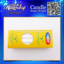 Velas blancas, velas de parafina, paquete de caja