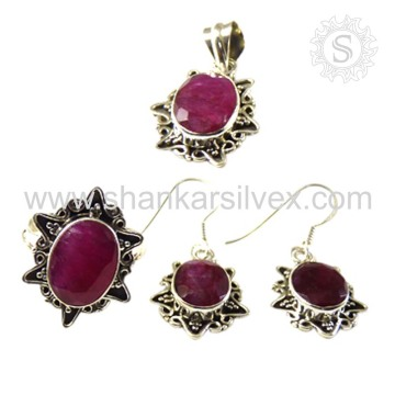 Exquisite Handmade Silver Jewelry Ruby Set Indian Silver Jewelry Wholesaler Silver Jewelry Jaipur
