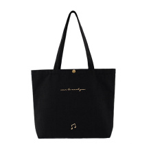 Reusable Black Material OEM ODM Custom Embroidery Silkscreen Printed Recycle Cotton Canvas Tote Shopping Bag with Snap Fasten Close