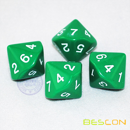 China Polyhedral 14 Sided Dice 1-7 Twice (Green) Manufacturers