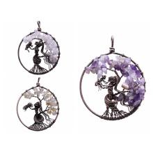 Colgante de árbol de la vida para collar amuleto cristal cuarzo 7 Chakra meditación piedras preciosas encantos paz regalos familiares