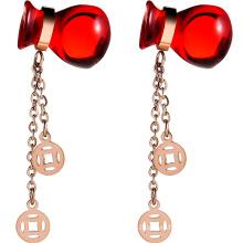 Red 925 silver women earrings stud
