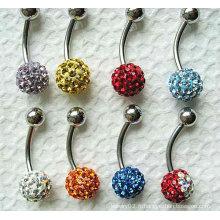 Bouton de ventre en cristal de perle à anneau de nombril de couleur