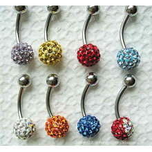 Anel de umbigo colorido Piercing bola de cristal Belly Button