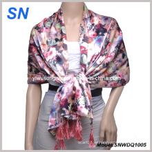 2015 bufanda de satén de moda con diseño de flores