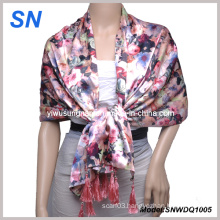2015 Fashion Satin Scarf with Flower Design